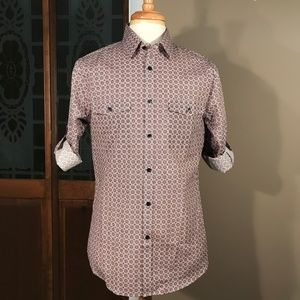 Express Extra Slim Fit Medallion Print Button-Up